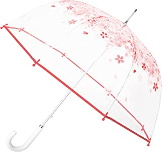 Pink Flower Clear Bubble Umbrella for Girls, Auto Open Stick Rain Umbrella with White Leather Handle