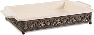 Original Scrolled Acanthus Ceramic Cream Baking Dish With 16-Inch By 10-Inch Metalwork Server