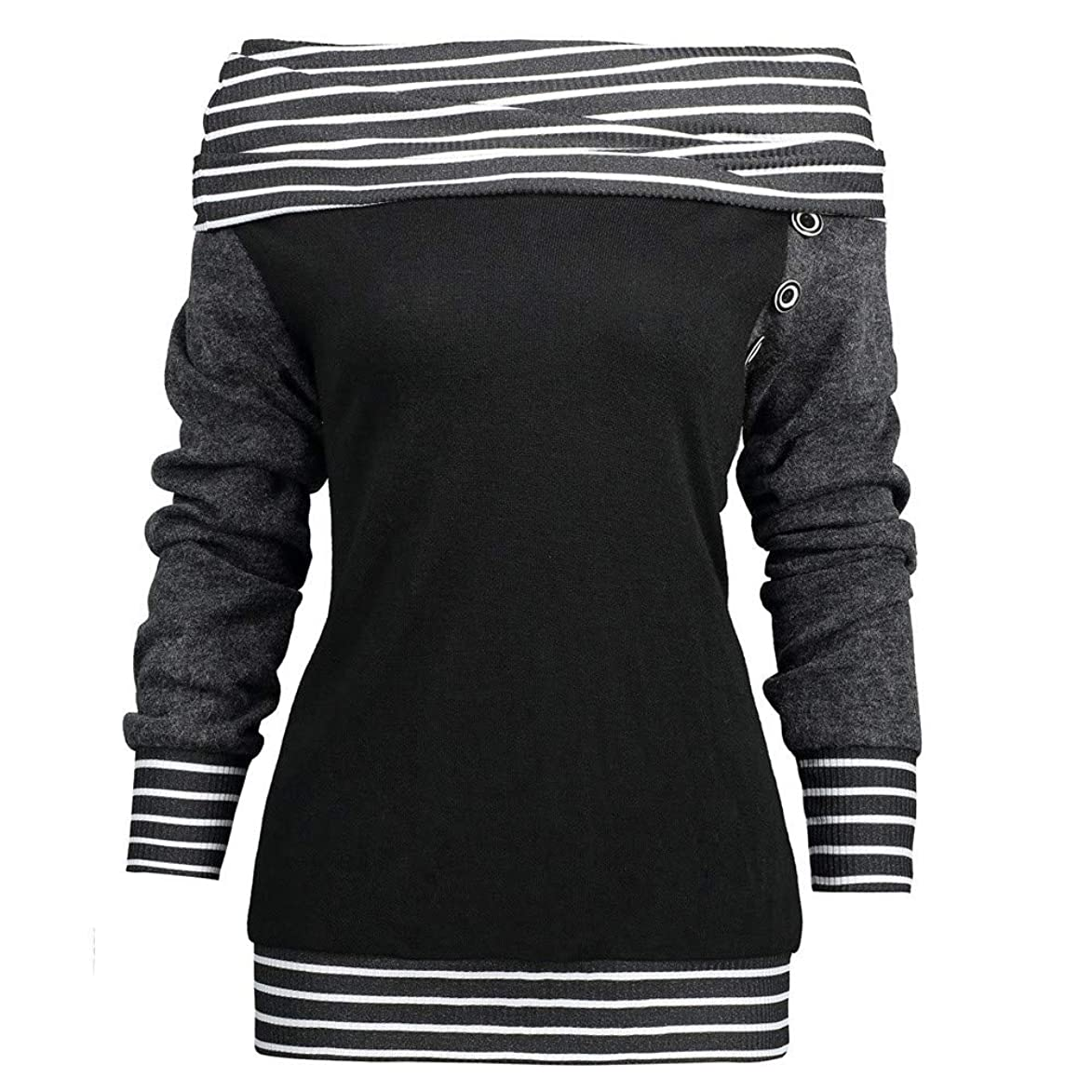 GOVOW Button Sweatshirt Cardigan for Women Skew Neck Long Sleeve Striped Patchwork Top pys617291066532