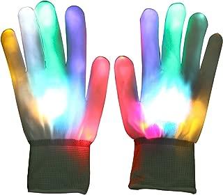 LED Handschuhe,Vicloon LED leuchtende Finger-Handschuhe mit 5 Farben 6 Modi für Clubs,Disco,Festivals, Weihnachten, Laufen, Radfahren, Sports,Stage Performance