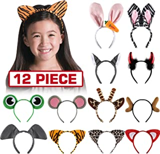 Byonebye 12 Pack Plush Animal Headbands for Party Favor, Jungle Animal Ear Horn Hair Hoop, Idea on Kid and Adult Birthday, Halloween Decoration, Dress-Up Safari Themed Parties Supplies