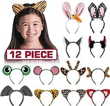 Byonebye 12 Pack Plush Animal Headbands for Party Favor, Jungle Animal Ear Horn Hair Hoop, Idea on Kid and Adult Birthday, Halloween Decoration, Dress-Up Safari Themed Parties Supplies