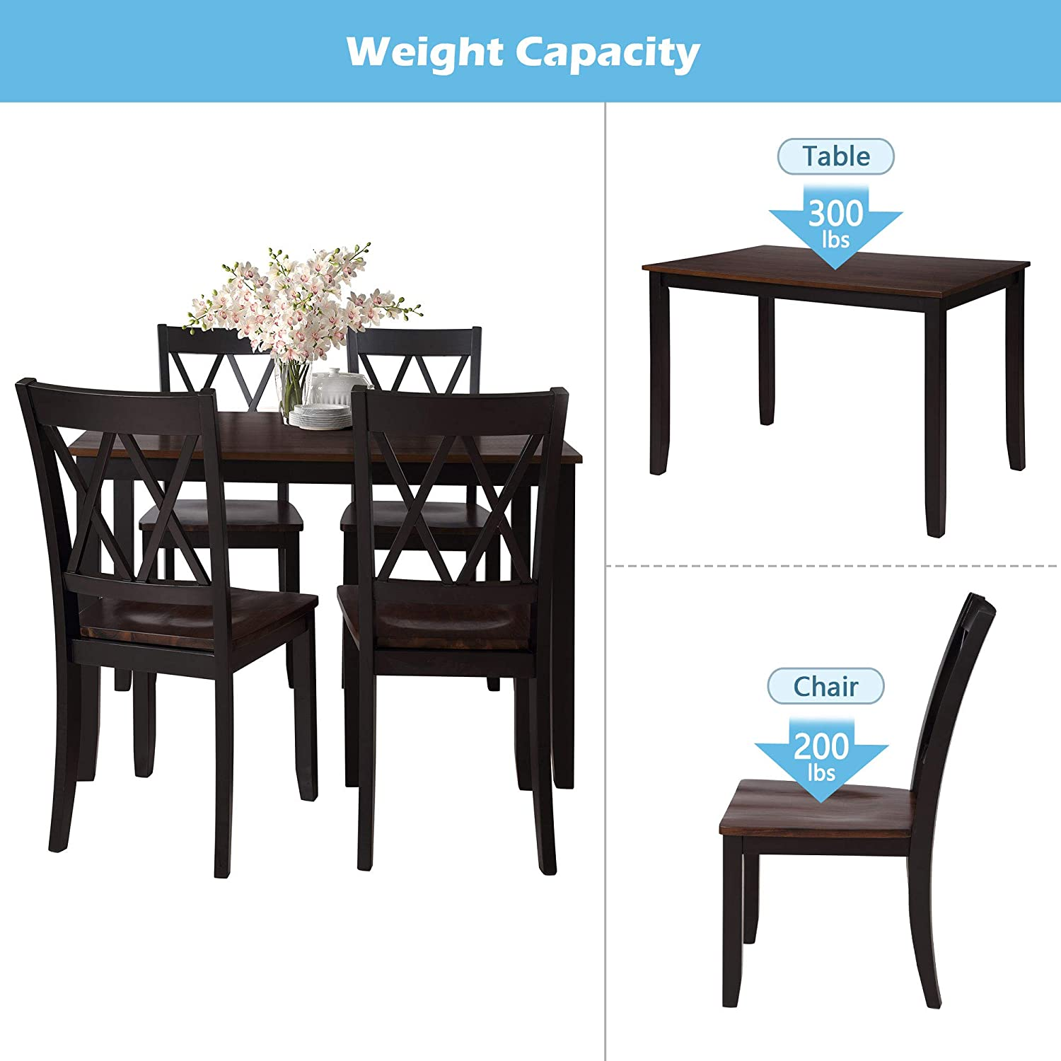 Merax Dining Table Set, Kitchen Dining Table Set for 9, Wood Table and  Chairs Set Cherry + Black