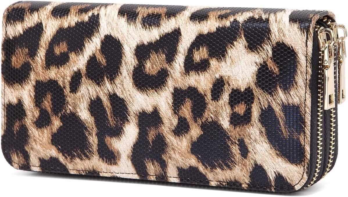 VISATER Leopard Wallets for Women Cheetah Animal Print Ladies Purse Long Zipper PU Leather Cards Slots, Wallet-a, Large