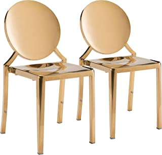 Zuo Modern Eclipse Dining Chair, Polished Stainless Steel French Design Dinning Chair, Set of 2, Gold
