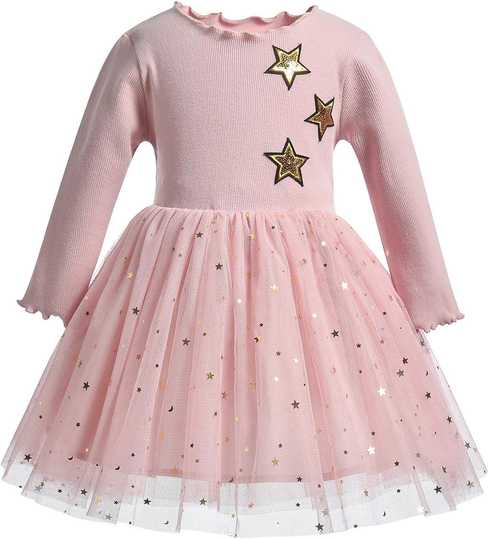 TEVYAR Long Sleeve Dresses for Winter for Girls Cotton Girl Dress for 1-7Years