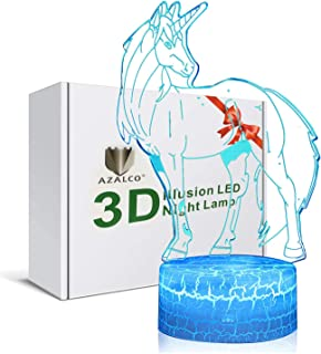 3D Illusion Unicorn Night Lamp, monocerous Unicorn Night Light, 7 Color Change, Touch White Base, Power by AA Batteries