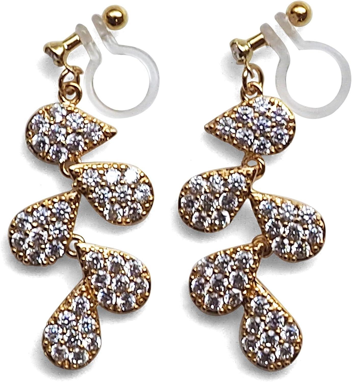 Miyabi Grace Elegant Cubic Zirconia Crystal Pave Invisible Clip On Earrings Dangle Women Wedding Non Pierced Clip On Leaf CZ BridalEarrings