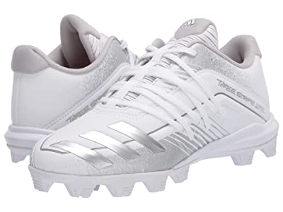 adidas Kids Afterburner 6 MD K Baseball (Toddler/Little Kid/Big Kid) (White/Silver Metallic/Grey) Kids Shoes
