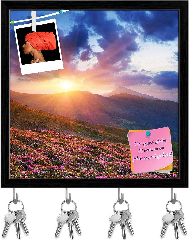 Artzfolio Spring Landscape D2 Key Holder Hooks   Notice Pin Board   Black Frame 20 X 20Inch