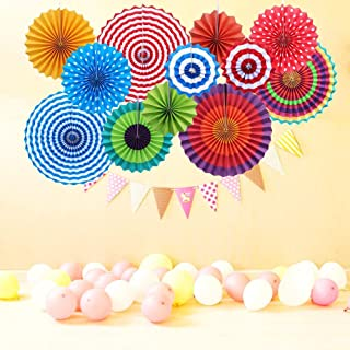 12x Round Wheel Hanging Fiesta Paper Fan Decorations, Yotako Hanging Paper Rosette Backdrop Paper Medallions Paper Pinwheels Fan for Wedding Party Baby Shower First Birthday Wall Decor