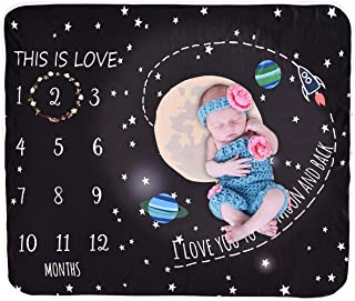 Camidy Baby Milestone Blanket, Newborn Infant Velvet Soft Winter Warm Photography Props Milestone Blanket Baby Swaddle Unisex Baby Girl Boy