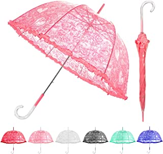 MISSYO Stick Clear Umbrella Lace Crystal Handle Transparent Bubble Dome Shape Princess Rain Umbrella for Outdoor Weddings Events, Pink (Pink) - IZ0203PK