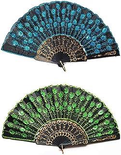 Dusenly - Abanicos de mano plegables con lentejuelas para mujer y niña (2 unidades)