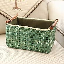 VROEPSX Clothing Basket Storage Straw Storage Basket Rural Storage Box Snack Storage Basket, 32cm × 22cm × 14cm