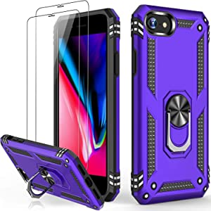iPhone SE 2020 Case,iPhone 8 Case,iPhone 7 Case,iPhone 6 6s Case with Glass Screen Protector,Military Grade 15ft. Drop Tested Protective Phone Case with Kickstand for iPhone 6 6s/7/8/SE2 Purple