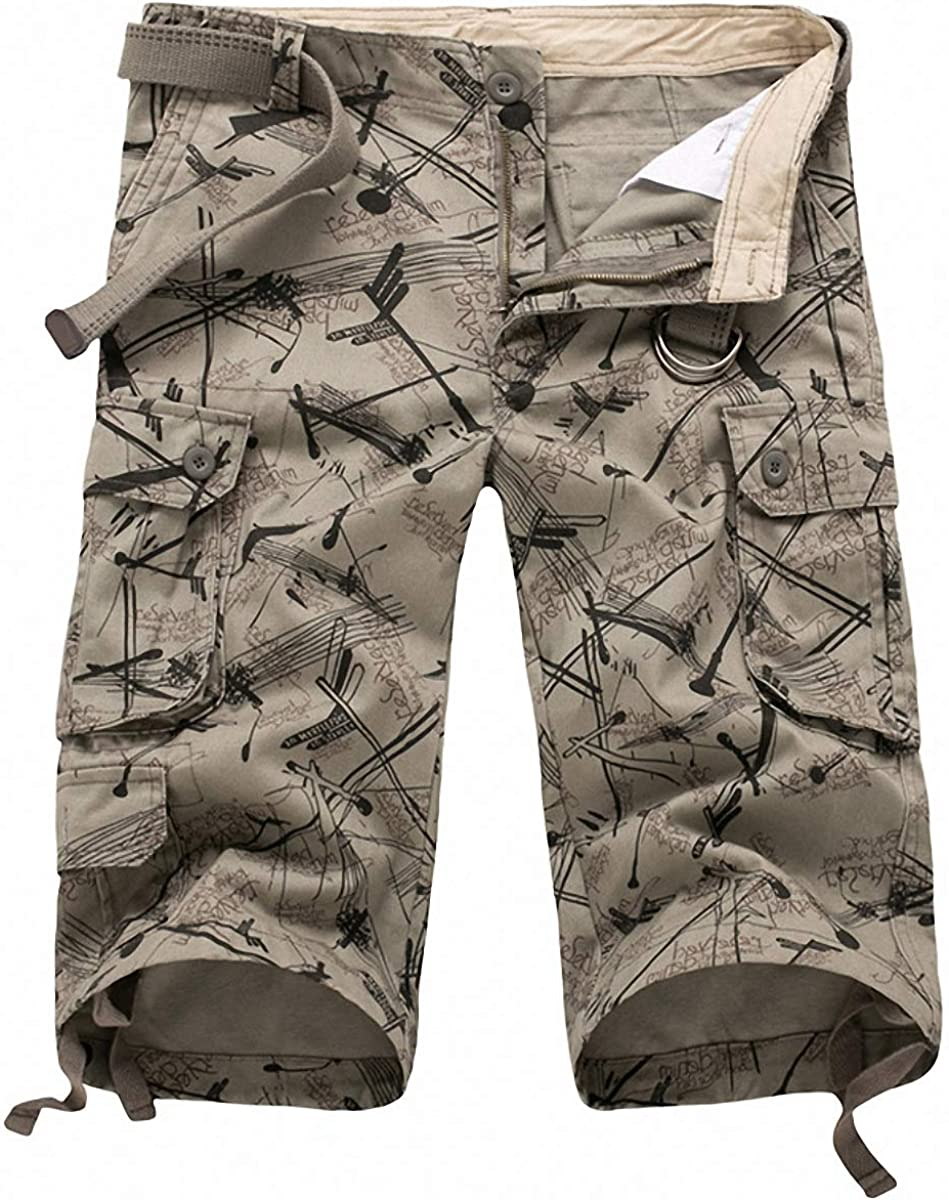 FASHINTY Multiple Pockets Cargo Shorts depot Cotton Year-end annual account