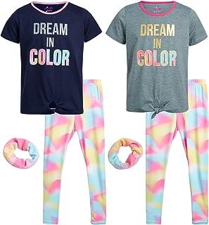 منامات dELias للفتيات - طقم ملابس نوم مكون من 4 قطع بأكمام قصيرة وسروال للنوم مع Scrunchie (فتاة صغيرة/فتاة كبيرة)، مقاس ...