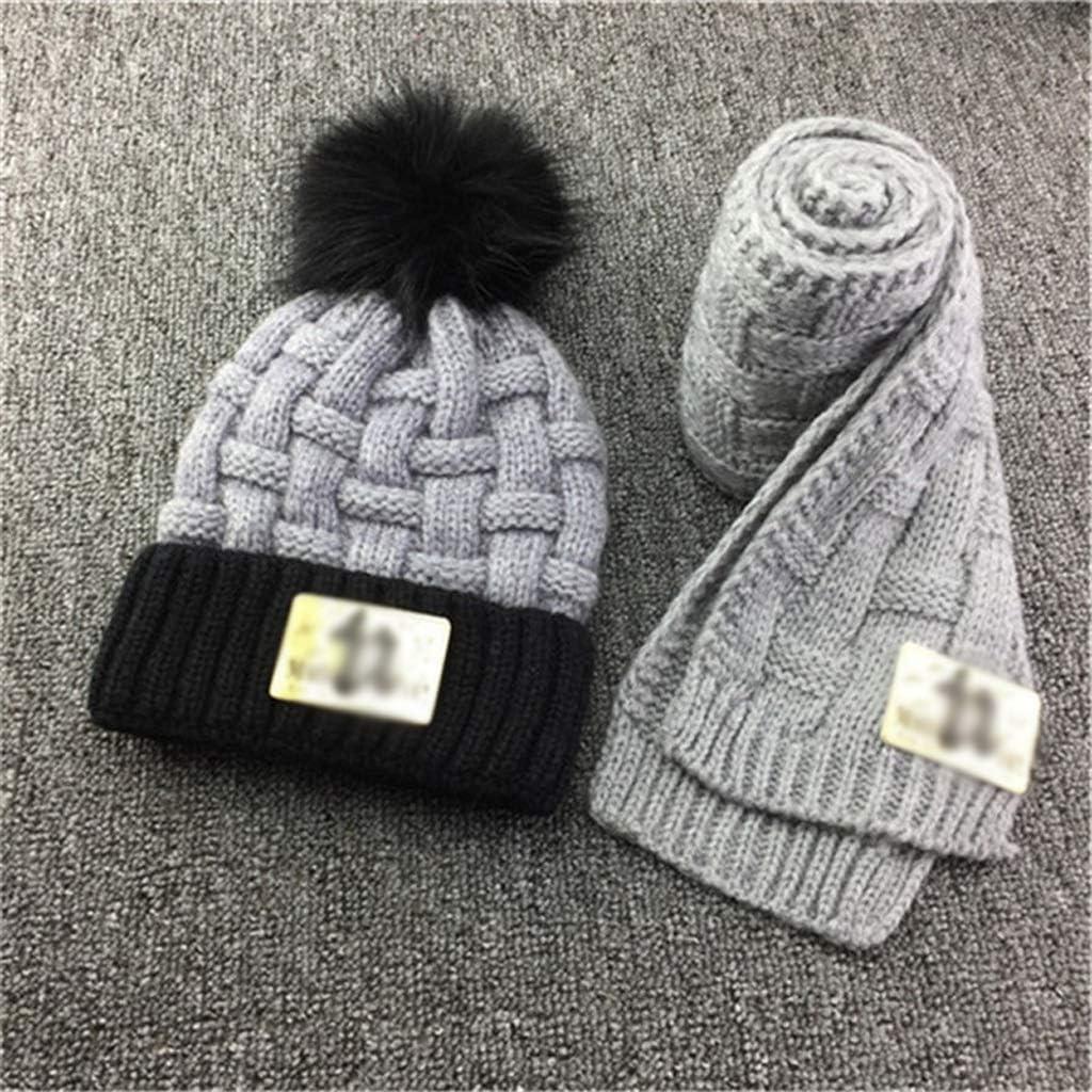 JJSPP Winter Soft Knit Hat Scarf New York Mall Kids Super-cheap Bean Set Novelty Thickened
