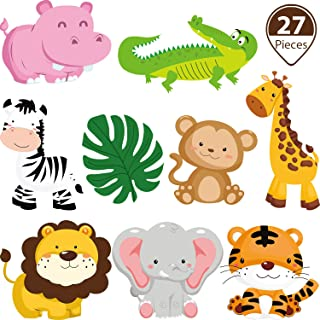 Blulu 27 Pieces Jungle Themed Party Decorations, Jungle Animals Cutouts Animals Theme Party Signs Paper Cutouts for Theme Party Birthday Party Baby Shower