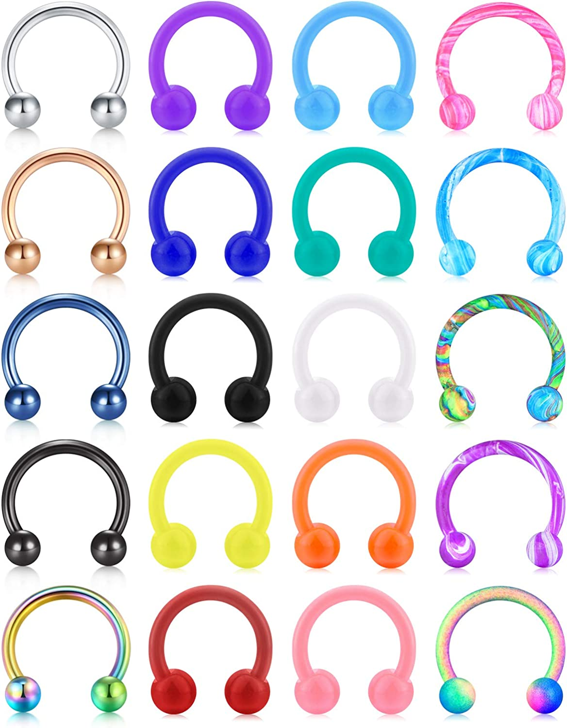 JFORYOU 16G Nose Septum Rings Horseshoe Barbell Piercing Jewelry Acrylic and Stainless Cartilage Helix Tragus Smiley Horseshoe Earrings Hoop Lip Rings Retainer Piercing for Women Men