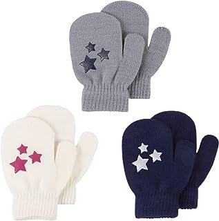 قفازات أطفال من UNIME قفازات محبوكة بأصابع كاملة قفازات دافئة مناسبة للشتاء للأولاد والبنات