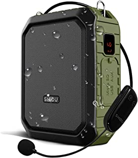 Voice Amplifier Wireless Speaker with Microphone Headset for Teachers Parkinsons Tour Guide Bluetooth Pa 18W Waterproof WB800 (Wireless_Green)
