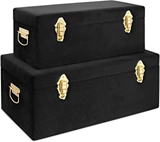 Beautify Black Velvet Decorative Storage Trunk Set with Brass Clasps - College Dorm and Bedroom Footlocker Trunks