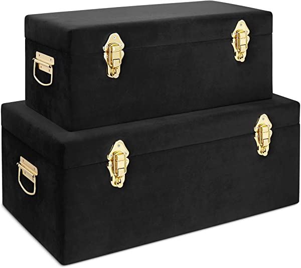 Beautify Black Velvet Decorative Storage Trunk Set With Brass Clasps College Dorm And Bedroom Footlocker Trunks