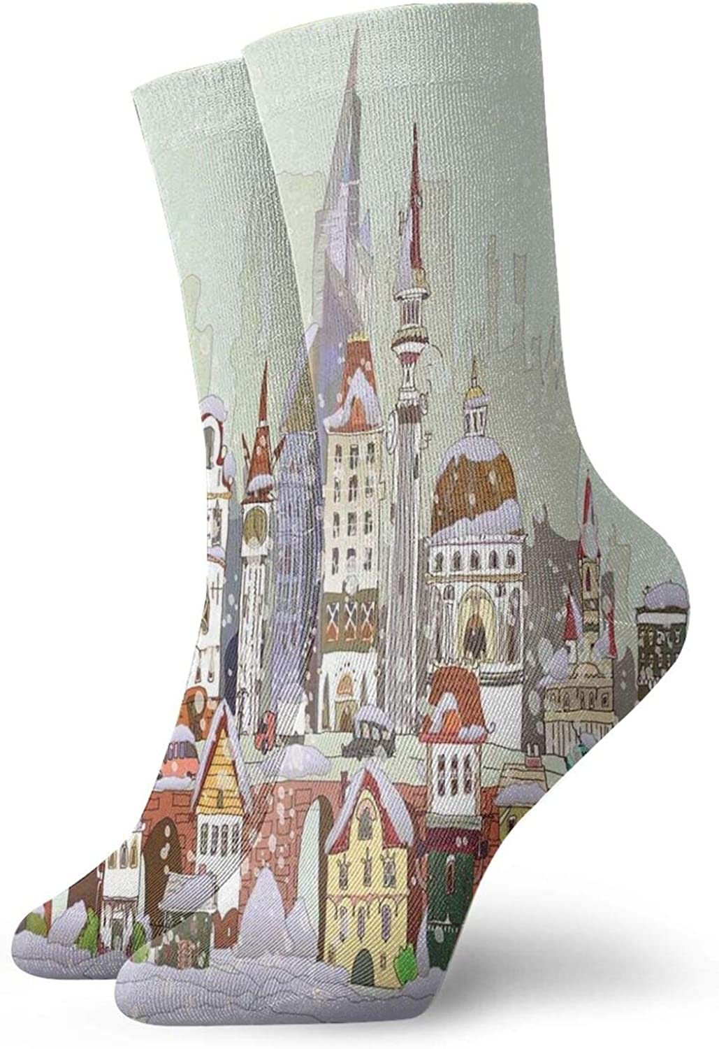 Men's and Women's Funny Casual Socks Noel In The City Xmas Background Yule Holiday Traditional Winter Scenery
