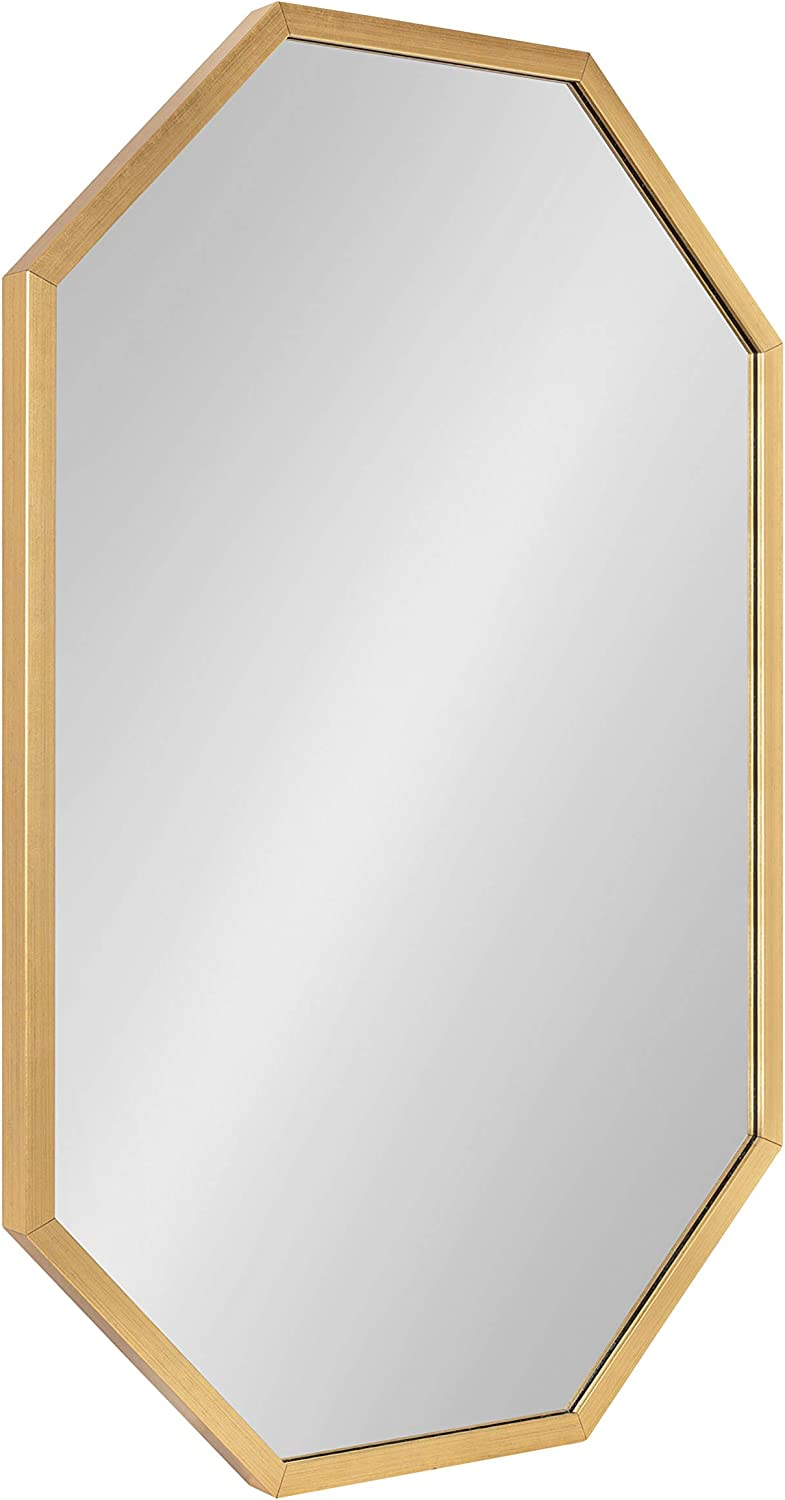Kate and Laurel Laverty Glam Oblong Octagon Framed Mirror, 24 x 36, Gold, Contemporary Geometric Wall Decor