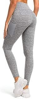 QUEENIEKE Womens Yoga Leggings Power Flex Mesh Medium Waist Tummy Control Running Pants with 3 Pocket