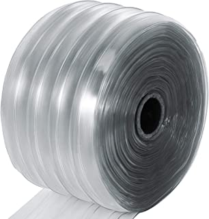 Mophorn Plastic Curtain Strips 150 Feet Length X 8 Inches Width 1 Roll Ribbed PVC Door Curtain 0.06 Inch Thickness Clear Anti Scratch Curtain Strip for Freezer Doors Warehouse Doors