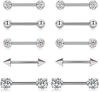14G Piercing Capezzolo Anello Barbell Piercing Lingua Anello Acciaio inossidabile CZ Helix Cartilagine Orecchio Corpo Pier...