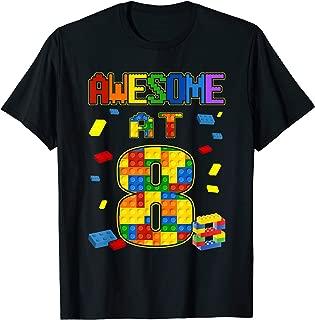 Birthday Shirt For Kids 8 Building Blocks Bricks Theme Party T-Shirt