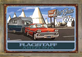 Northwest Art Mall Flagstaff Arizona Route 66 Chevy with Trailer Rustic Metal Print on Reclaimed Barn Wood by Paul A. Lanquist (12