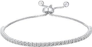 PAVOI 925 Sterling Silver Cubic Zirconia Classic Tennis Bracelet for Women | Adjustable Slider