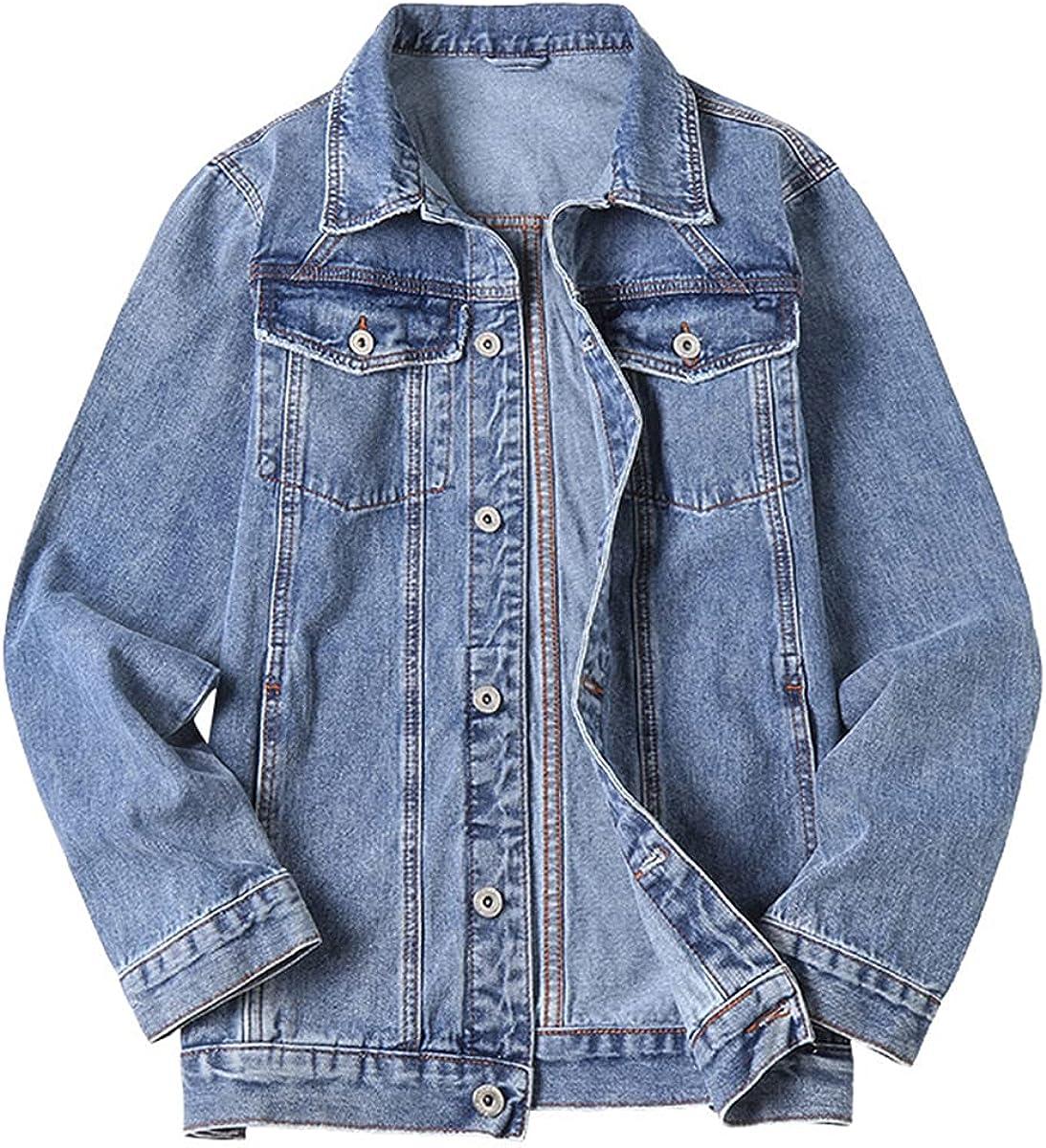 Men's Denim Jacket Plus Size Light Blue Fashion Design Spring Large Denim Jacket
