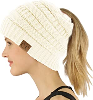 CC Ponytail Messy Bun BeanieTail Soft Winter Knit Stretchy Beanie Hat Cap