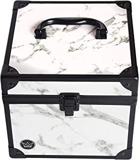 Pageant Crown Box, Black Velvet Interior, Mirror, Removable Pillow, Travel Pouch, Marble