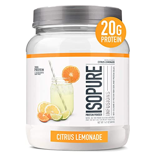"""ISOPURE INFUSIONS, Refreshingly Light Fruit Flavored Whey Protein Isolate Powder, """"Shake Vigorously & Infuses in a Minute"""", Citrus Lemonade, 16 Servings"""