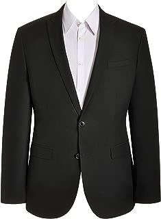 Mens 1 Piece 2 Button Peak Lapel Business Fit Formal Suit Black