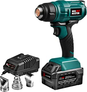 Heat Gun Cordless NEU MASTER NHG0050 1022°F Max. Hot Air Gun With 4.0 Ah 20V Max. Battery And 3 Metal Nozzle Attachments For Shrink Wrapping, Paint Stripping, Tube Bending
