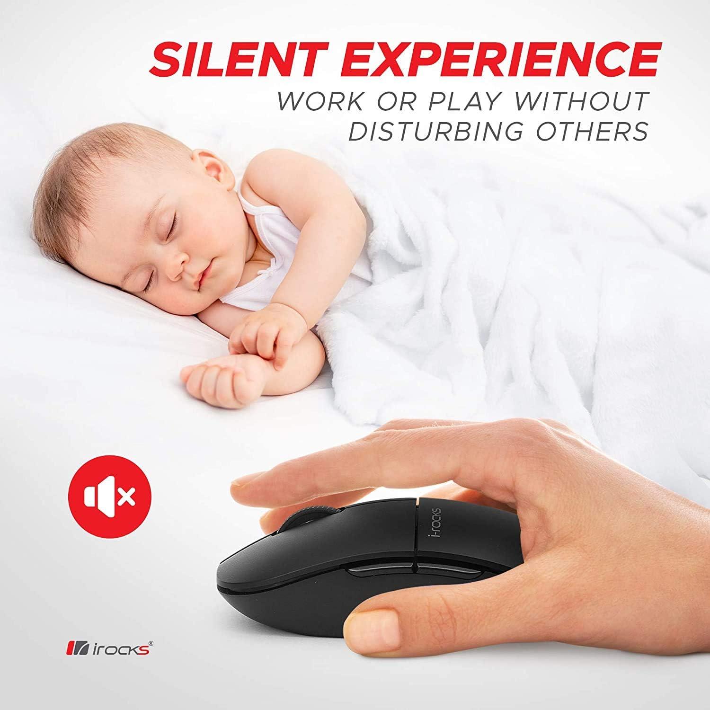 i-Rocks M23R 2.4G Wireless Silent Slim Mouse, Optical Mice with USB Nano Receiver, Adjustable DPI Levels for PC, Notebook, Computer, Laptop, Desktop, Ergonomic Design - Black