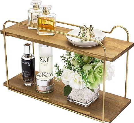 Amazon Com Modern Wood Brass Tone Metal Floating Storage Shelf 2 Tier Bathroom Vanity Organizer Rack Home Kitchen