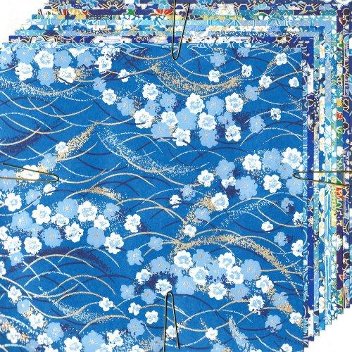 Origamipapier Washi Aizome blaugemustert, DW-459, 15cm