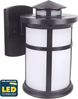 CORAMDEO Outdoor Round Misson-Style Wall Mount Lantern, Built-in LED to Last Over 22 Years, Easy to Install Outside Light Fixture for House Exteriors, Garages & Wet Locations, Bronze Finish, Medium