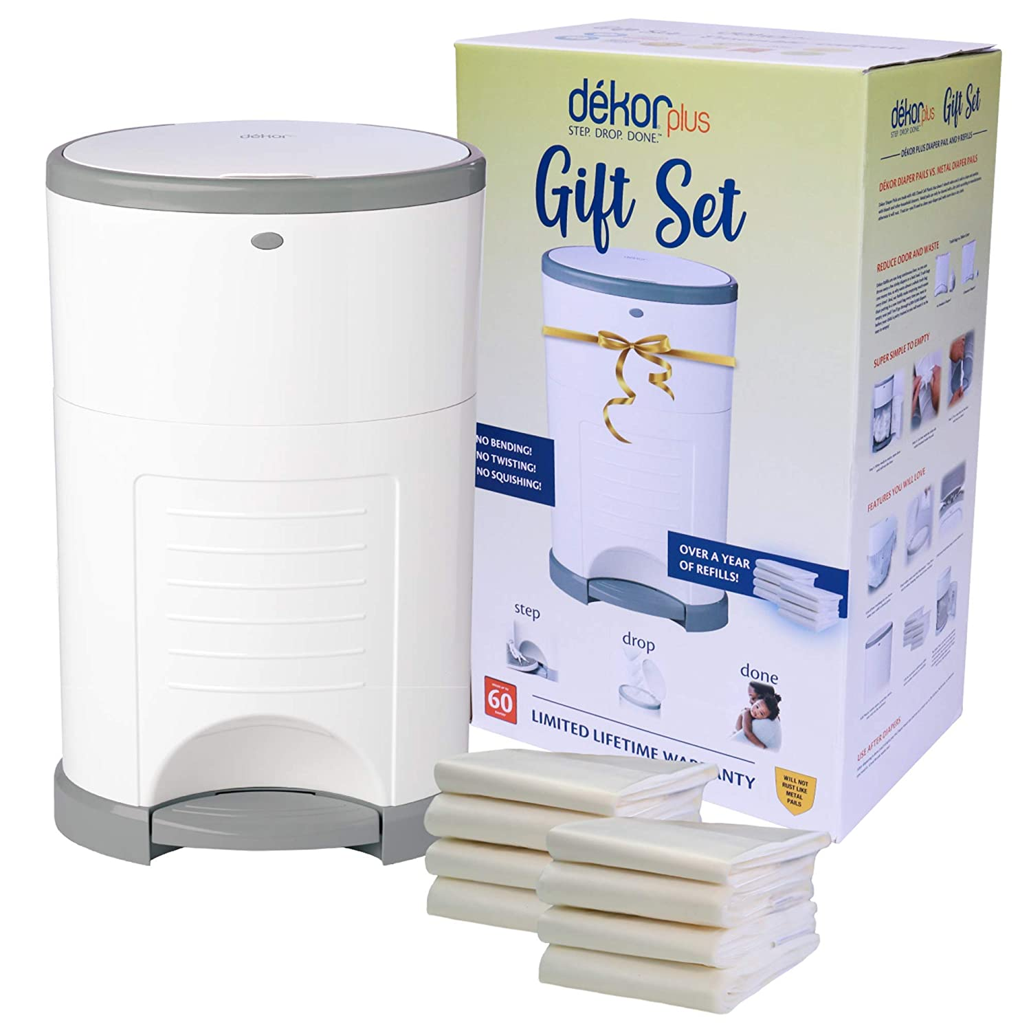 Dékor Plus Bombing new work Diaper Pail Gift Set Many popular brands – a with Year White Over Comes