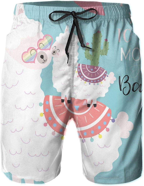 Sweet Llama Family Baby Alpaca Cactus Hearts Flower Doodle Drawstring Waist Beach Shorts for Men Swim Trucks Board Shorts with Mesh Lining,XL