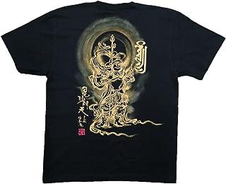 毘沙門天 Tシャツ 白黒 半袖 和柄 仏画 日本画 手描き 墨絵 伯舟庵